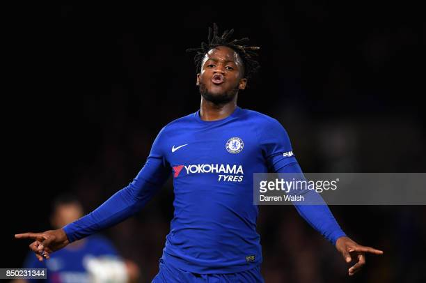 Michy Batshuayi of Chelsea celebrates after scoring his sides second goal during the Carabao Cup Third Round match between Chelsea and Nottingham...