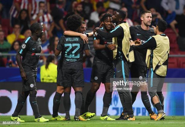 Michy Batshuayi of Chelsea celebrates after scoring his sides second goal during the UEFA Champions League group C match between Atletico Madrid and...