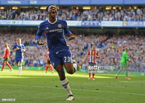Michy Batshuayi of Chelsea celebrates scoring a goal during the Premier League match between Chelsea and Sunderland at Stamford Bridge on May 21 2017...