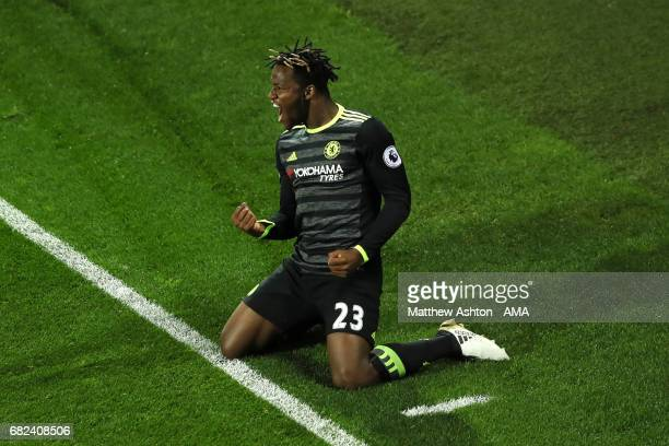 Michy Batshuayi of Chelsea celebrates scoring a goal to make the score 01 during the Premier League match between West Bromwich Albion and Chelsea at...