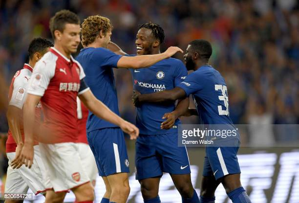 Michy Batshuayi of Chelsea celebrates scoring a goal with teammates during the PreSeason Friendly match between Arsenal FC and Chelsea FC at Birds...