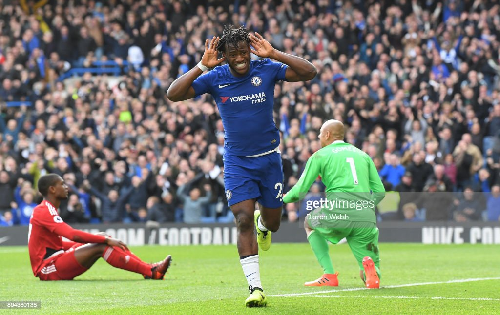Michy Batshuayi of Chelsea celebrates scoring his second goal, Chelsea's fourth during the Premier League match between Chelsea and Watford at Stamford Bridge on October 21, 2017 in London, England.