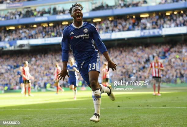 Michy Batshuayi of Chelsea celebrates scoring his side fourth goal during the Premier League match between Chelsea and Sunderland at Stamford Bridge...