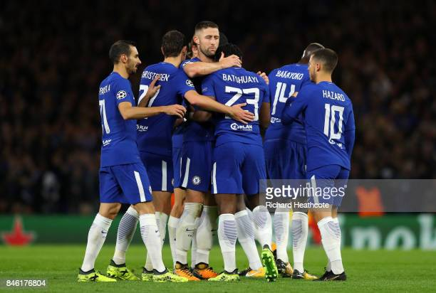Michy Batshuayi of Chelsea celebrates scoring his sides fifth goal with his Chelsea team mates during the UEFA Champions League Group C match between...