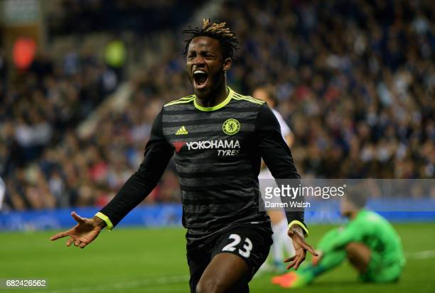 Michy Batshuayi of Chelsea celebrates scoring his sides first goal during the Premier League match between West Bromwich Albion and Chelsea at The...