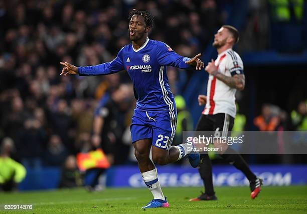 Michy Batshuayi of Chelsea celebrates scoring his side's fourth goal during the Emirates FA Cup Fourth Round match between Chelsea and Brentford at...