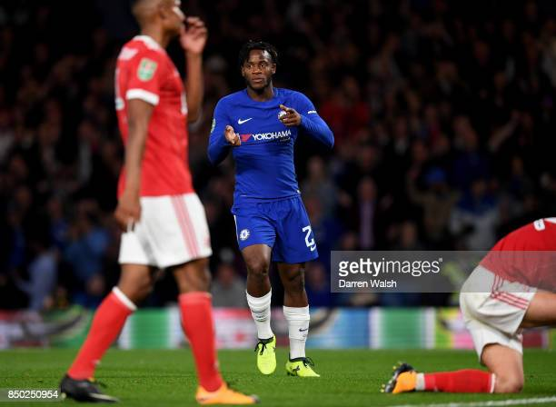 Michy Batshuayi of Chelsea celebrates scoring his sides fourth goal during the Carabao Cup Third Round match between Chelsea and Nottingham Forest at...