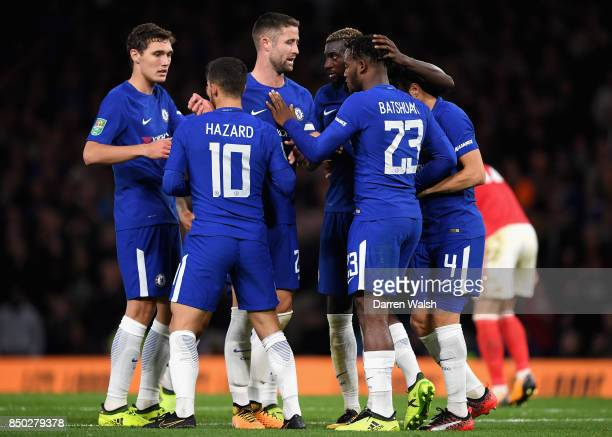 Michy Batshuayi of Chelsea celebrates scoring his sides fourth goal with his Chelsea team mates during the Carabao Cup Third Round match between...