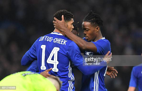 Michy Batshuayi of Chelsea celebrates scoring his sides second goal with Ruben LoftusCheek of Chelsea during The Emirates FA Cup Third Round match...