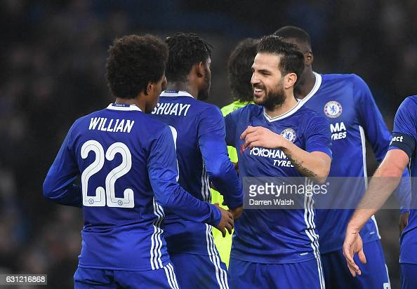Michy Batshuayi of Chelsea celebrates scoring his sides second goal with Cesc Fabregas of Chelsea during The Emirates FA Cup Third Round match...