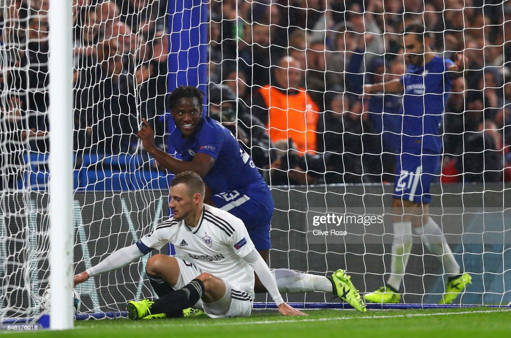 Michy Batshuayi of Chelsea celebrates scoring his sides sixth goal during the UEFA Champions League Group C match between Chelsea FC and Qarabag FK at Stamford Bridge on September 12, 2017 in London, United Kingdom.
