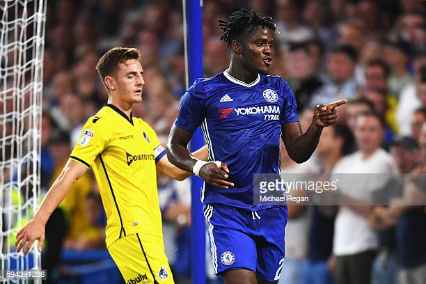 Michy Batshuayi of Chelsea celebrates scoring his sides third goal during the EFL Cup second round match between Chelsea and Bristol Rovers at...