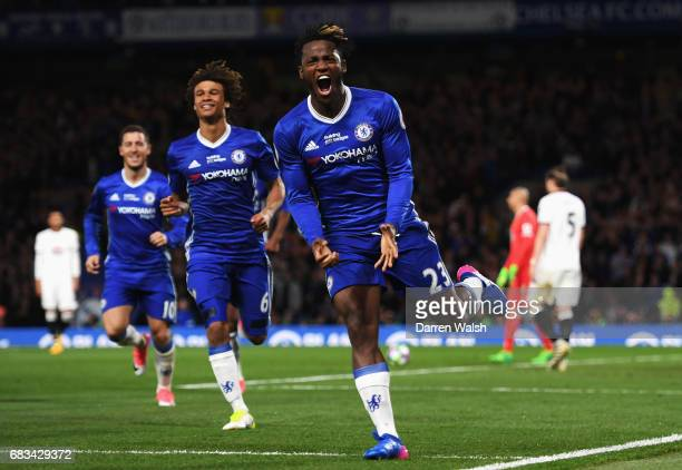 Michy Batshuayi of Chelsea celebrates scoring his sides third goal during the Premier League match between Chelsea and Watford at Stamford Bridge on...