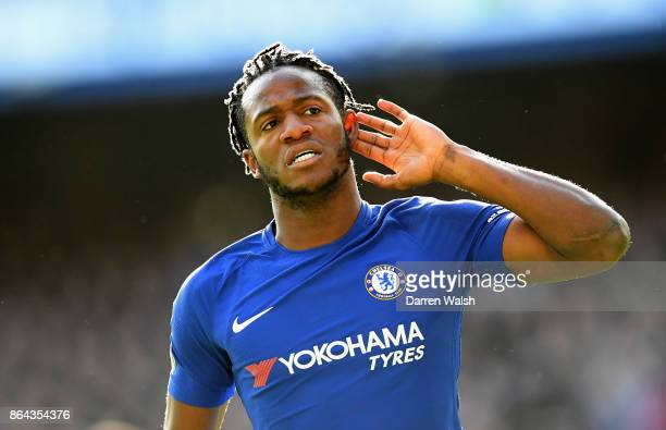 Michy Batshuayi of Chelsea celebrates scoring the 2nd Chelsea goal during the Premier League match between Chelsea and Watford at Stamford Bridge on...