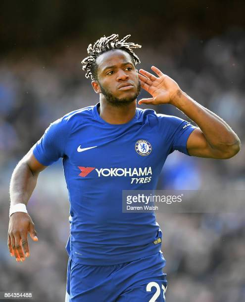 Michy Batshuayi of Chelsea celebrates scoring ythe 2nd goal during the Premier League match between Chelsea and Watford at Stamford Bridge on October...