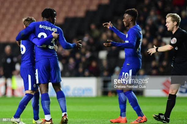 Michy Batshuayi of Chelsea celebrates the first goal during the Second Round Checkatrade Trophy Match between MK Dons and Chelsea FC at StadiumMK on...