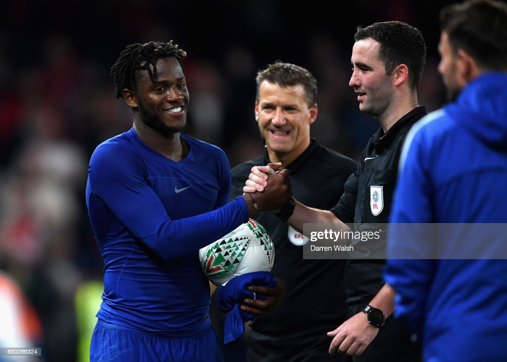 Michy Batshuayi of Chelsea collects the match ball after the Carabao Cup Third Round match between Chelsea and Nottingham Forest at Stamford Bridge on September 19, 2017 in London, England.