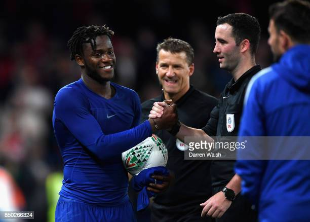 Michy Batshuayi of Chelsea collects the match ball after the Carabao Cup Third Round match between Chelsea and Nottingham Forest at Stamford Bridge...
