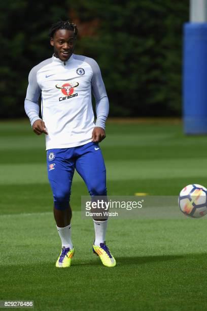Michy Batshuayi of Chelsea during a training session at Chelsea Training Ground on August 10 2017 in Cobham England