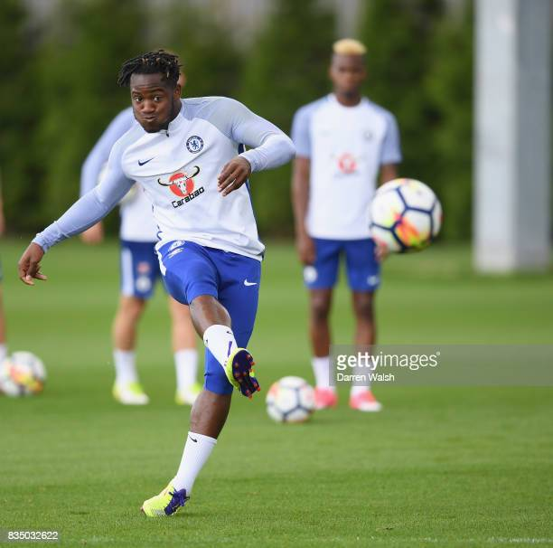 Michy Batshuayi of Chelsea during a training session at Chelsea Training Ground on August 18 2017 in Cobham England