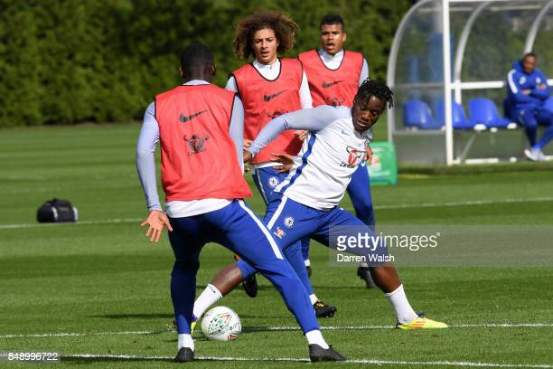 Michy Batshuayi of Chelsea during a training session at Chelsea Training Ground on September 18 2017 in Cobham England