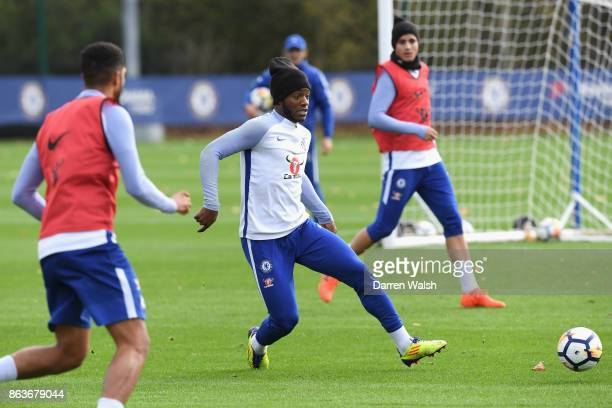 Michy Batshuayi of Chelsea during a training session at Chelsea Training Ground on October 20 2017 in Cobham United Kingdom