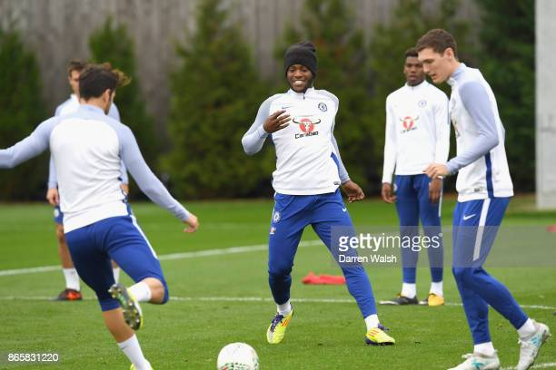 Michy Batshuayi of Chelsea during a training session at Chelsea Training Ground on October 24 2017 in Cobham England