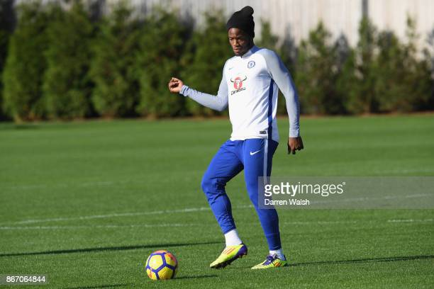 Michy Batshuayi of Chelsea during a training session at Chelsea Training Ground on October 27 2017 in Cobham England
