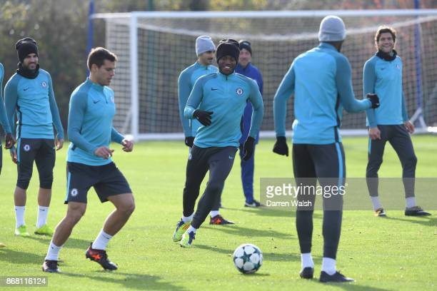 Michy Batshuayi of Chelsea during a training session at Chelsea Training Ground on October 30 2017 in Cobham England