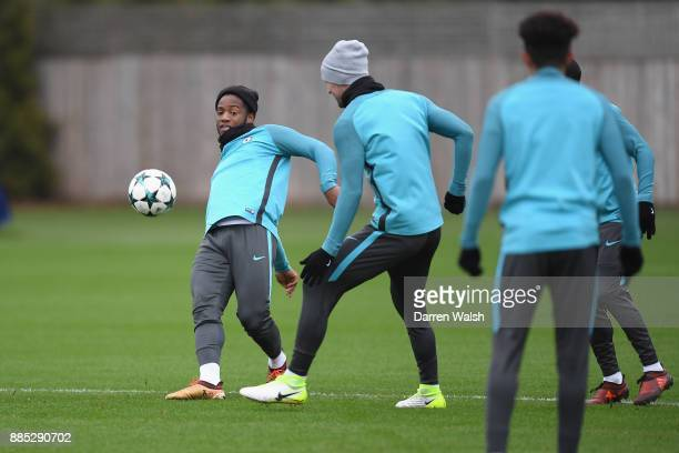 Michy Batshuayi of Chelsea during a training session at Chelsea Training Ground on December 4 2017 in Cobham England