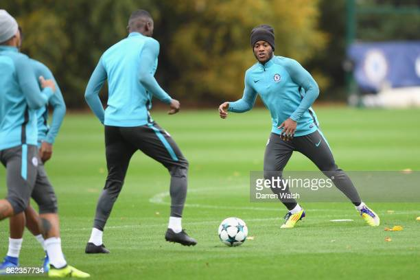 Michy Batshuayi of Chelsea during a training session at the Cobham Training Ground on October 17 2017 in Cobham England