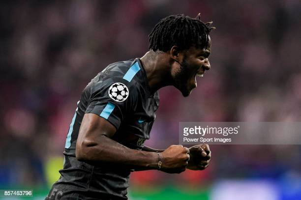Michy Batshuayi of Chelsea FC celebrates during the UEFA Champions League 201718 match between Atletico de Madrid and Chelsea FC at the Wanda...