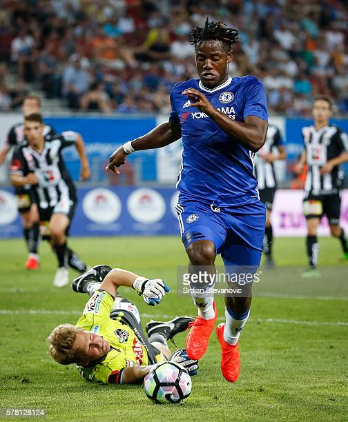 Michy Batshuayi of Chelsea in action against goalkeeper Alexander Kofler of WAC RZ Pellets during the friendly match between WAC RZ Pellets and...