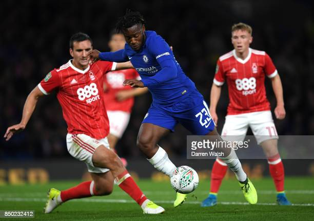 Michy Batshuayi of Chelsea in action during the Carabao Cup Third Round match between Chelsea and Nottingham Forest at Stamford Bridge on September...