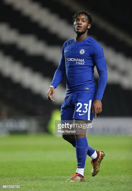 Michy Batshuayi of Chelsea in action during the Checkatrade Trophy Second Round match between Milton Keynes Dons and Chelsea U21vat StadiumMK on...