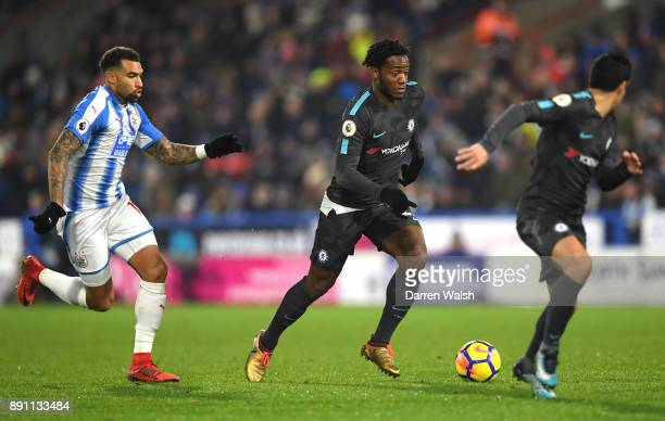 Michy Batshuayi of Chelsea in action during the Premier League match between Huddersfield Town and Chelsea at John Smith's Stadium on December 12...