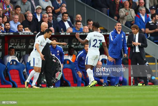 Michy Batshuayi of Chelsea is substituted for Pedro during the Premier League match between Crystal Palace and Chelsea at Selhurst Park on October 14...