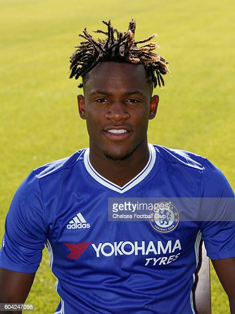 Michy Batshuayi of Chelsea poses for the headshot at Chelsea Training Ground on September 13 2016 in Cobham England