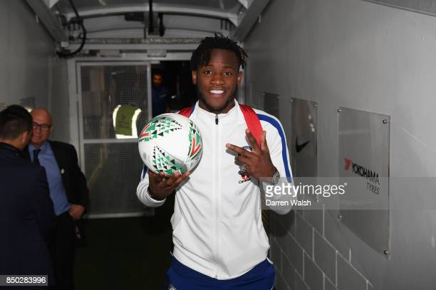 Michy Batshuayi of Chelsea poses with the match ball after the Carabao Cup Third Round match between Chelsea and Nottingham Forest at Stamford Bridge...