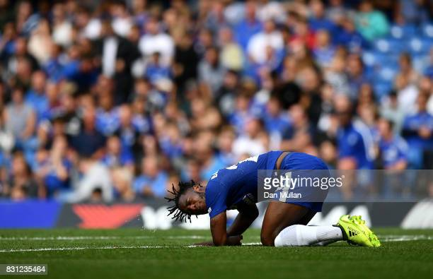 Michy Batshuayi of Chelsea reacts after a challenge during the Premier League match between Chelsea and Burnley at Stamford Bridge on August 12 2017...