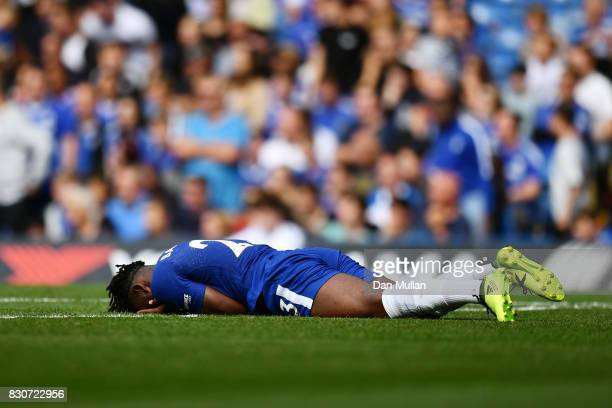 Michy Batshuayi of Chelsea reacts during the Premier League match between Chelsea and Burnley at Stamford Bridge on August 12 2017 in London England
