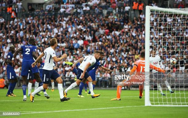 Michy Batshuayi of Chelsea scoes a own goal for Tottenham Hotspur first goal of the game during the Premier League match between Tottenham Hotspur...