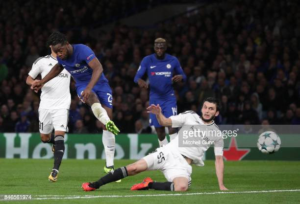Michy Batshuayi of Chelsea scores a goal during the UEFA Champions League group C match between Chelsea FC and Qarabag FK at Stamford Bridge on...