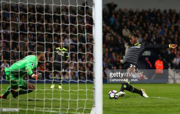 Michy Batshuayi of Chelsea scores a goal to make it 01 during the Premier League match between West Bromwich Albion and Chelsea at The Hawthorns on...