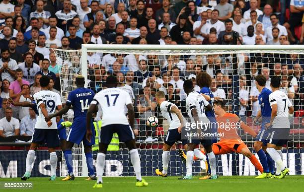 Michy Batshuayi of Chelsea scores an own goal during the Premier League match between Tottenham Hotspur and Chelsea at Wembley Stadium on August 20...