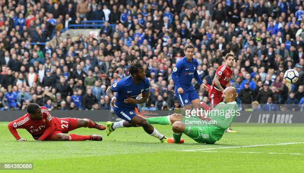 Michy Batshuayi of Chelsea scores his second goal Chelsea's fourth during the Premier League match between Chelsea and Watford at Stamford Bridge on...