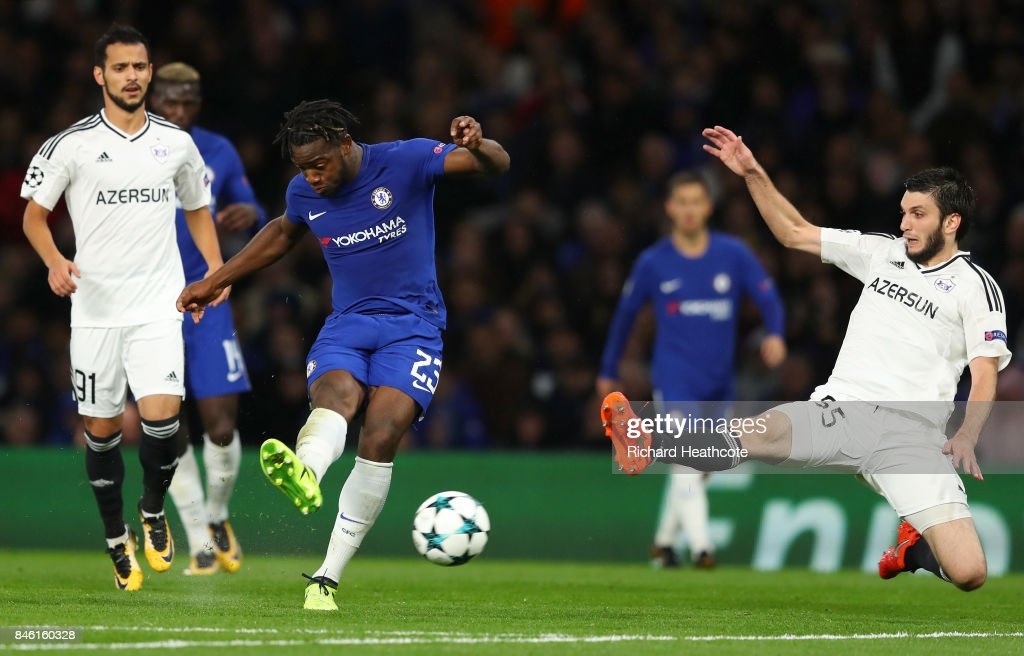 Michy Batshuayi of Chelsea scores his sides fifth goal during the UEFA Champions League Group C match between Chelsea FC and Qarabag FK at Stamford Bridge on September 12, 2017 in London, United Kingdom.