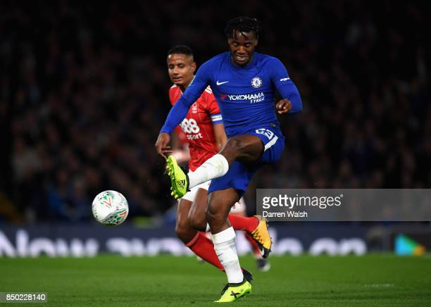 Michy Batshuayi of Chelsea scores his sides second goal during the Carabao Cup Third Round match between Chelsea and Nottingham Forest at Stamford...