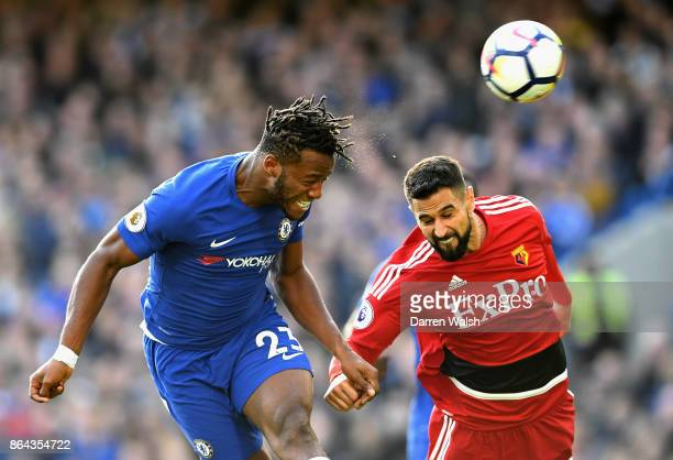 Michy Batshuayi of Chelsea scores his side's second goal during the Premier League match between Chelsea and Watford at Stamford Bridge on October 21...