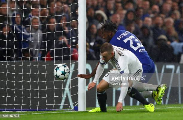 Michy Batshuayi of Chelsea scores his sides sixth goal during the UEFA Champions League Group C match between Chelsea FC and Qarabag FK at Stamford...